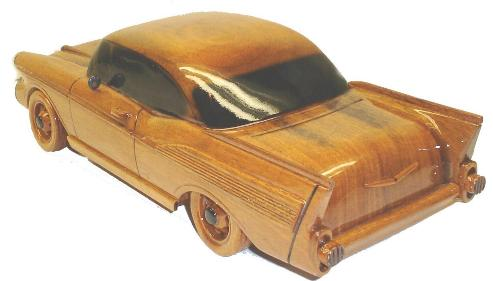 57 Chevy wood wooden desktop model car