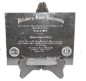 Laser engraved diploma black