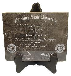 laser engraved diploma brown