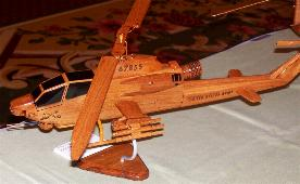 Ah-1  Cobra Wood Desktop Helicopter Model  Wooden Helicopters  Wood helicopter models Mahogany Helicopter