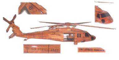 Pesonalized model Oh-58 Wood Desktop Helicopter Model  Wooden Helicopters  Wood helicopter models Mahogany Helicopter