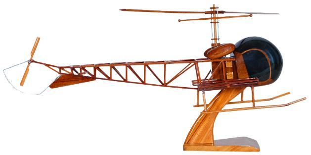 OH13 Siuox Helicopter Model  OH-13 Mahogany WoodHelicopter