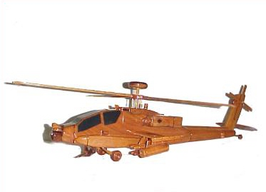 AH-64 Apache Wood Desktop Helicopter Model  Wooden Helicopters  Wood helicopter models Mahogany Helicopter