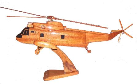 SH-3 Sea King S-61 Wood Desktop Helicopter Model  Wooden Helicopters  Wood helicopter models Mahogany Helicopter