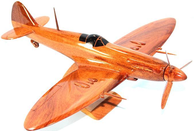 Spitfire Model aircraft, Wooden desktop airplane, Natural